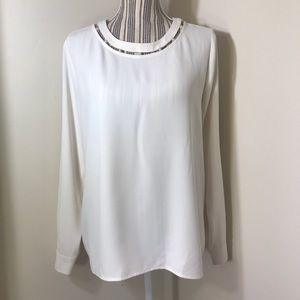 Ann Taylor Pearlized Inset Blouse
